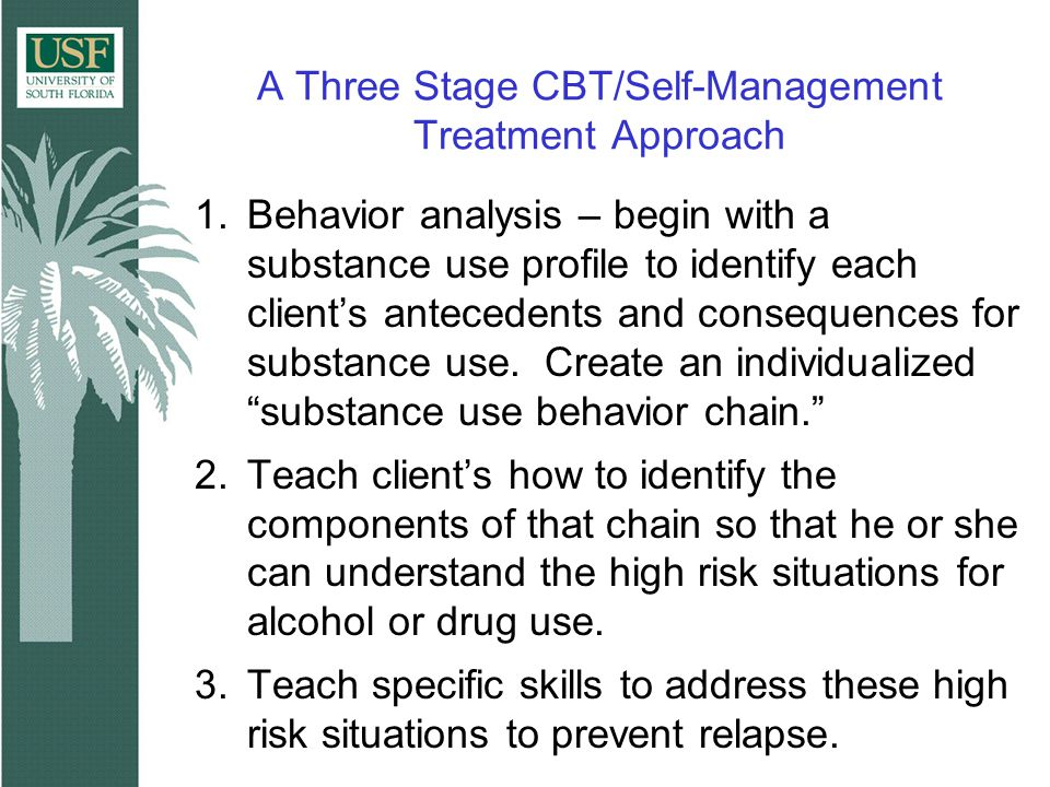 A Three Stage CBT/Self-Management Treatment Approach 1.Behavior analysis – begin with a substance use profile to identify each client's antecedents and consequences for substance use.