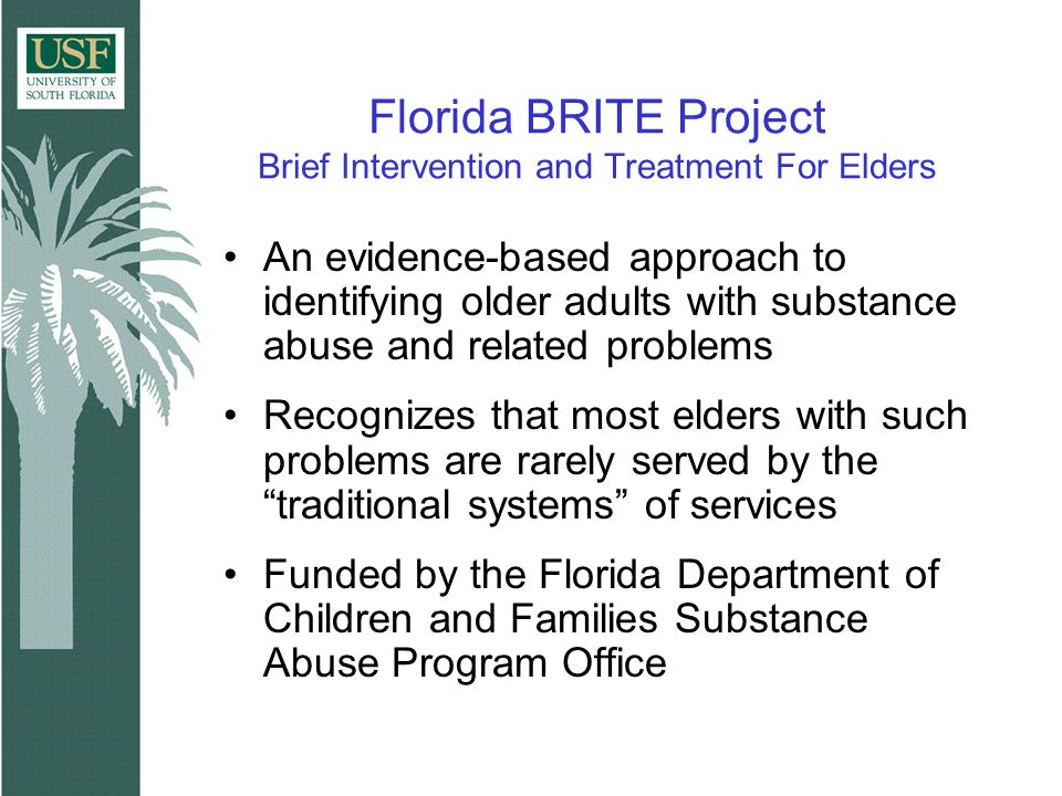 Florida BRITE Project Brief Intervention and Treatment For Elders An evidence-based approach to identifying older adults with substance abuse and related problems Recognizes that most elders with such problems are rarely served by the traditional systems of services Funded by the Florida Department of Children and Families Substance Abuse Program Office