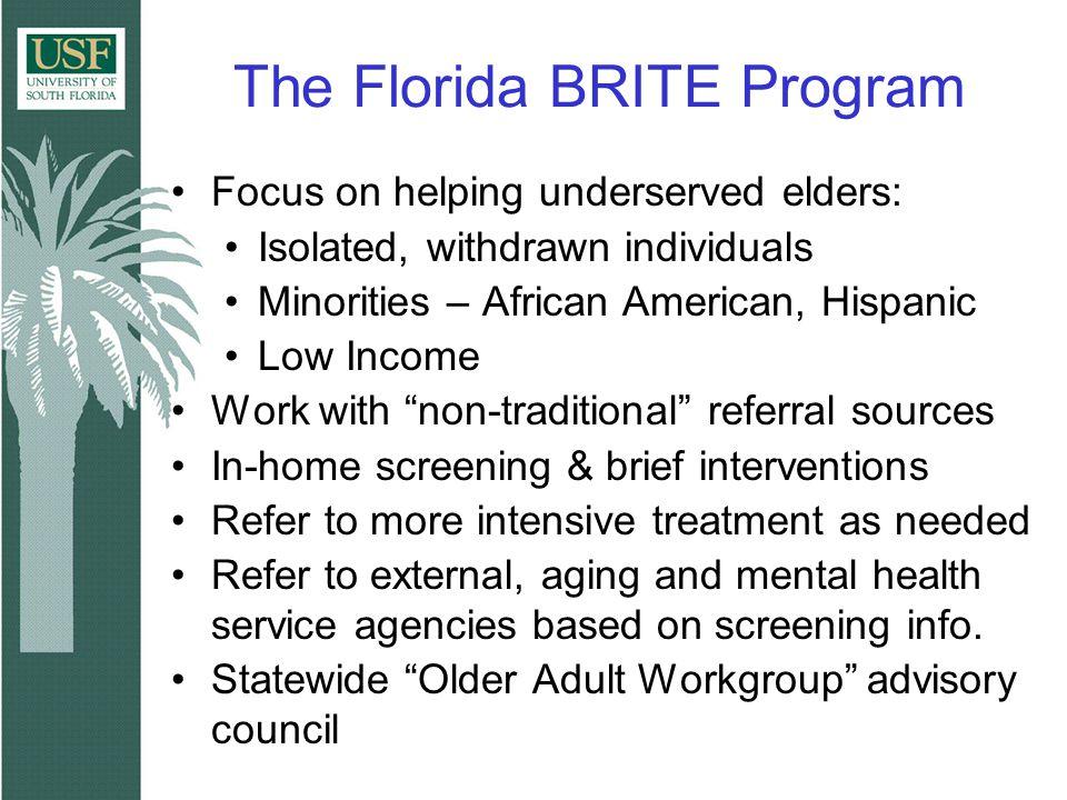The Florida BRITE Program Focus on helping underserved elders: Isolated, withdrawn individuals Minorities – African American, Hispanic Low Income Work
