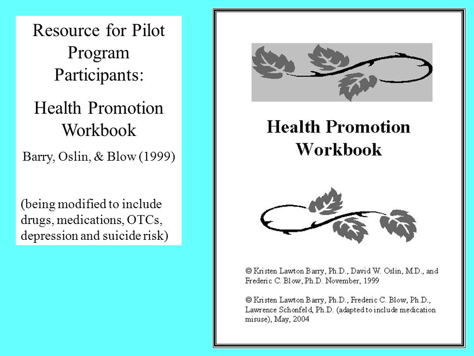 Resource for Pilot Program Participants: Health Promotion Workbook Barry, Oslin, & Blow (1999) (being modified to include drugs, medications, OTCs, depression and suicide risk)