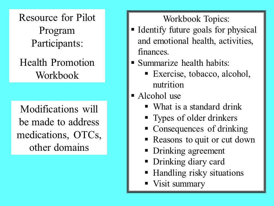 Resource for Pilot Program Participants: Health Promotion Workbook Workbook Topics:  Identify future goals for physical and emotional health, activities, finances.