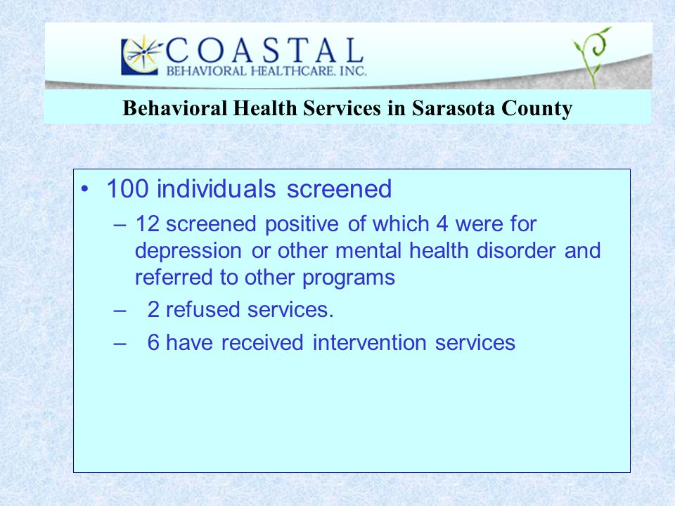 100 individuals screened –12 screened positive of which 4 were for depression or other mental health disorder and referred to other programs – 2 refus