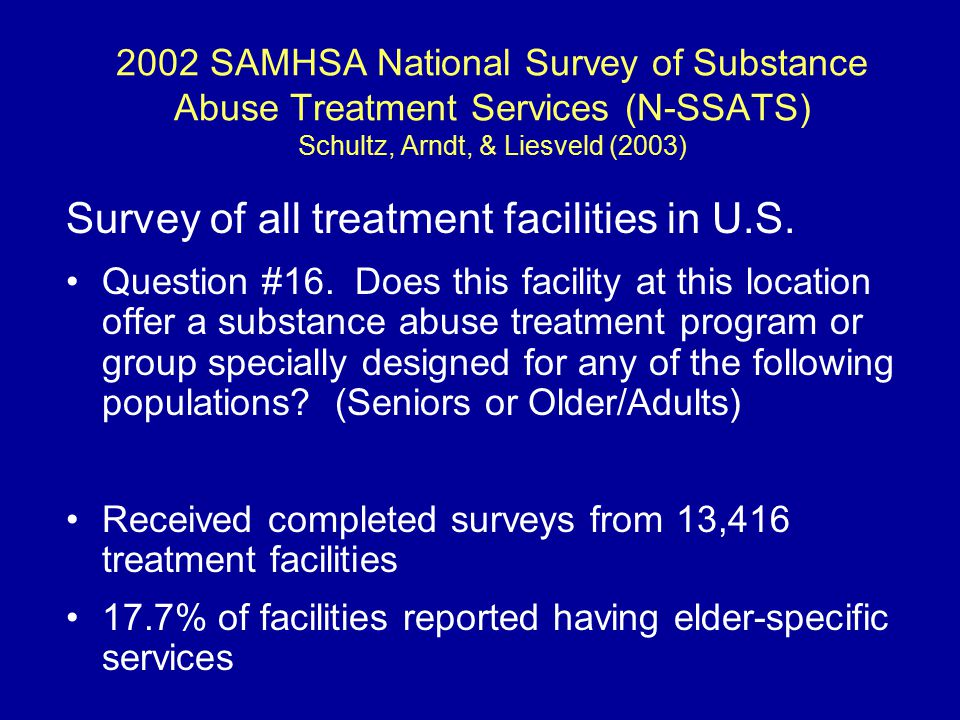 2002 SAMHSA National Survey of Substance Abuse Treatment Services (N-SSATS) Schultz, Arndt, & Liesveld (2003) Elder-specific services were: Typically offered in facilities owned or operated by hospitals, psychiatric hospitals More common in programs operated for profit and those subsidized by federal & tribal governments Less often in state & private/not-for-profit facilities Less often in substance abuse specific facilities More often in programs offering specialized programs for other groups (dually diagnosed, adolescents, HIV/AIDS, pregnant women, etc.)