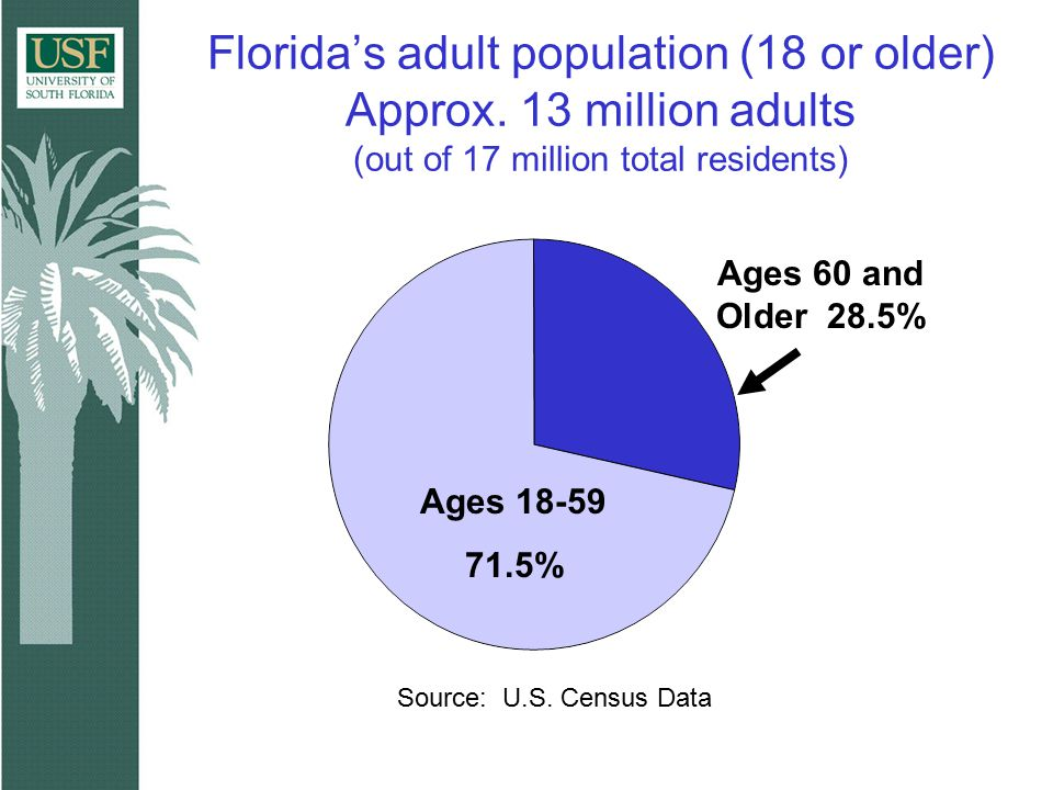 Proportion of Older Adults Treated in Publicly Funded Substance Abuse Treatment Services in Florida Fiscal Year 2001-2002 Ages 18-59 98% Ages 60 and Older 2% Source: Policy & Services Research Data Center (2003) Louis de la Parte Florida Mental Health Institute
