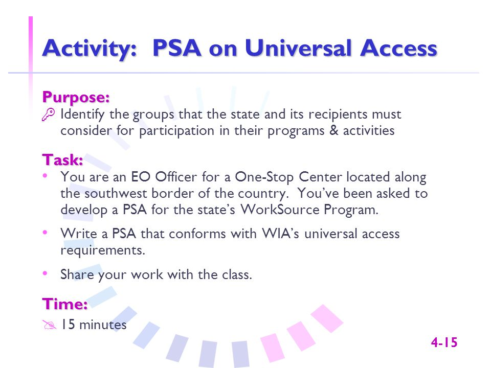 4-15 Activity: PSA on Universal Access Purpose:  Identify the groups that the state and its recipients must consider for participation in their programs & activitiesTask: You are an EO Officer for a One-Stop Center located along the southwest border of the country.