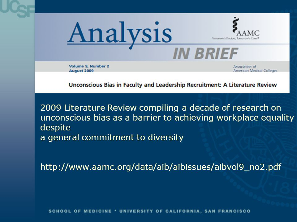 2009 Literature Review compiling a decade of research on unconscious bias as a barrier to achieving workplace equality despite a general commitment to