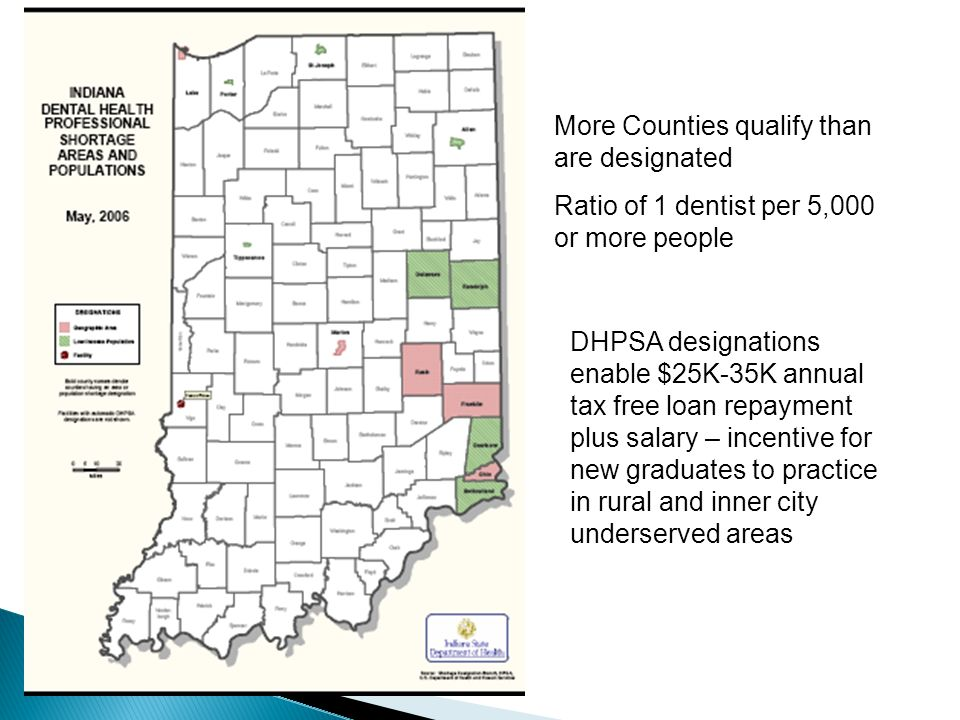 DHPSA designations enable $25K-35K annual tax free loan repayment plus salary – incentive for new graduates to practice in rural and inner city unders