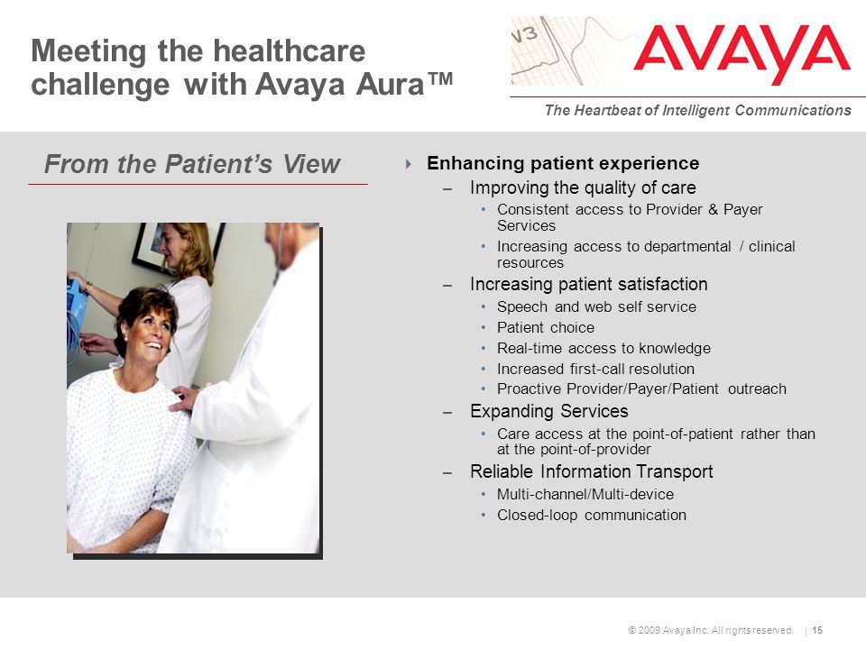 © 2009 Avaya Inc. All rights reserved. The Heartbeat of Intelligent Communications 15 From the Patient's View Meeting the healthcare challenge with Av