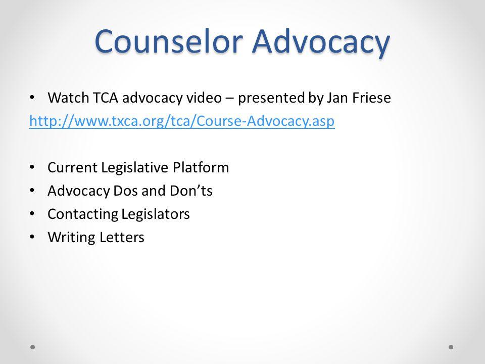 TCA 2013 Legislative Agenda Maintain current regulatory structures for all Professional Counselors.