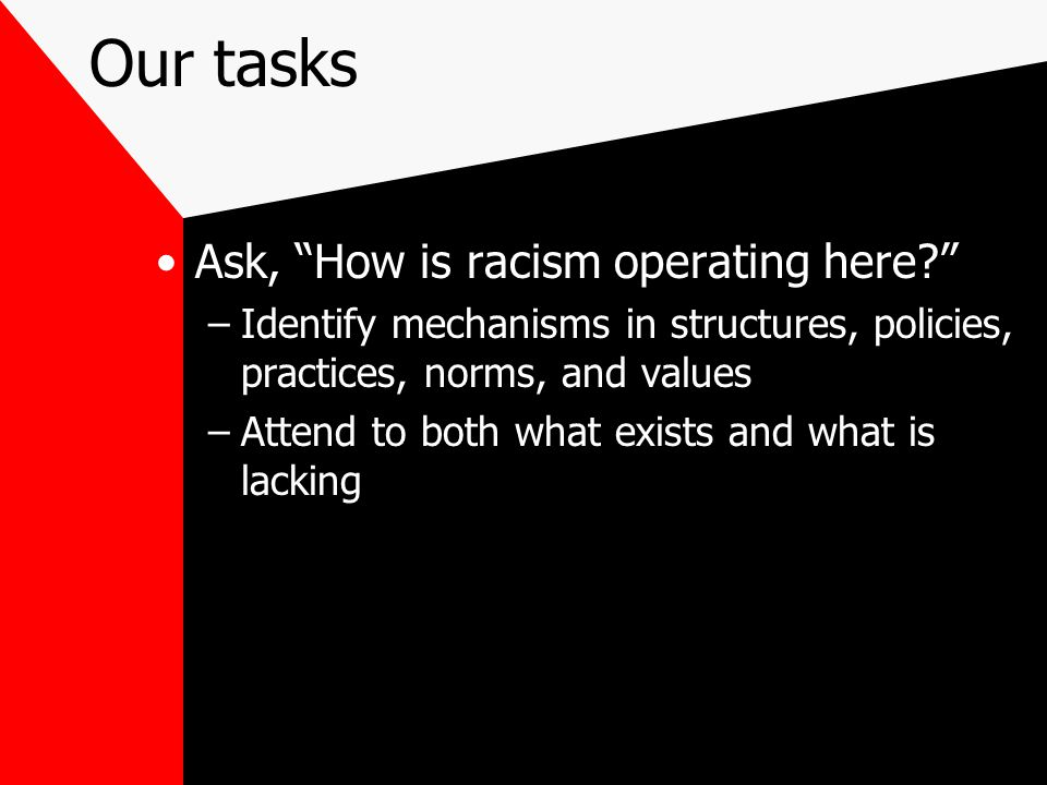 Our tasks Ask, How is racism operating here? –Identify mechanisms in structures, policies, practices, norms, and values –Attend to both what exists and what is lacking
