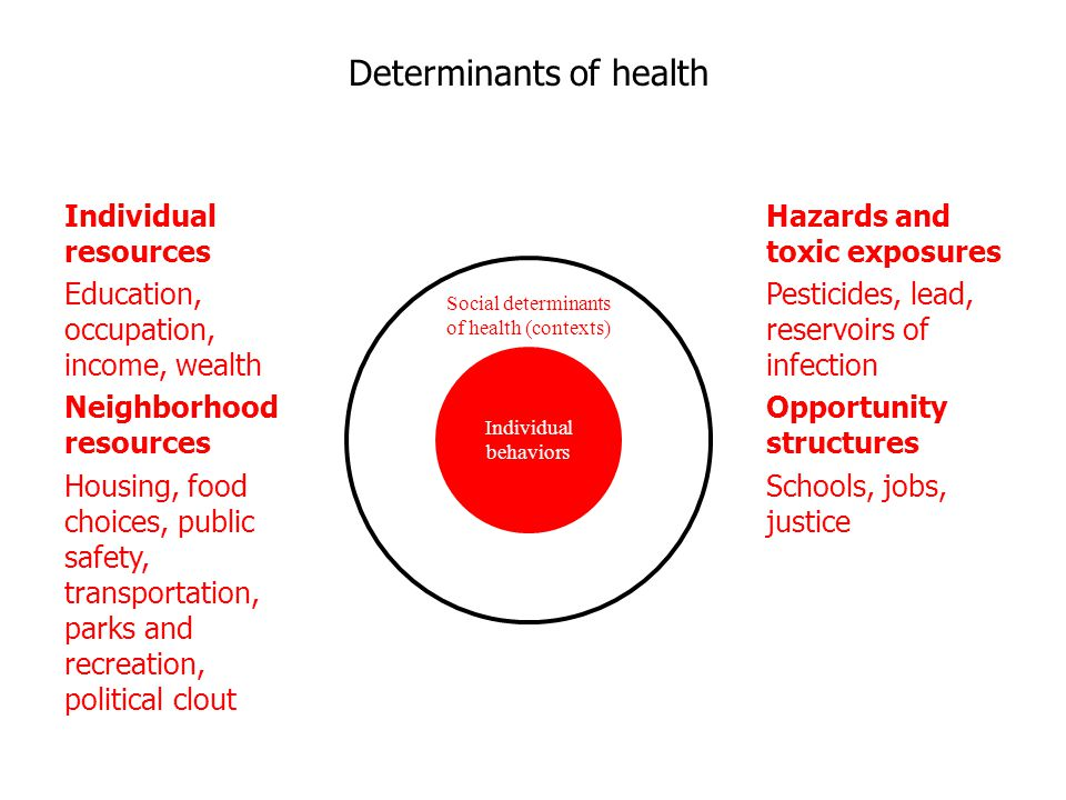 Social determinants of health (contexts) Individual behaviors Individual resources Education, occupation, income, wealth Neighborhood resources Housing, food choices, public safety, transportation, parks and recreation, political clout Hazards and toxic exposures Pesticides, lead, reservoirs of infection Opportunity structures Schools, jobs, justice Determinants of health