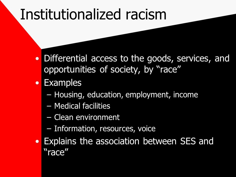 """Institutionalized racism Differential access to the goods, services, and opportunities of society, by """"race"""" Examples –Housing, education, employment,"""