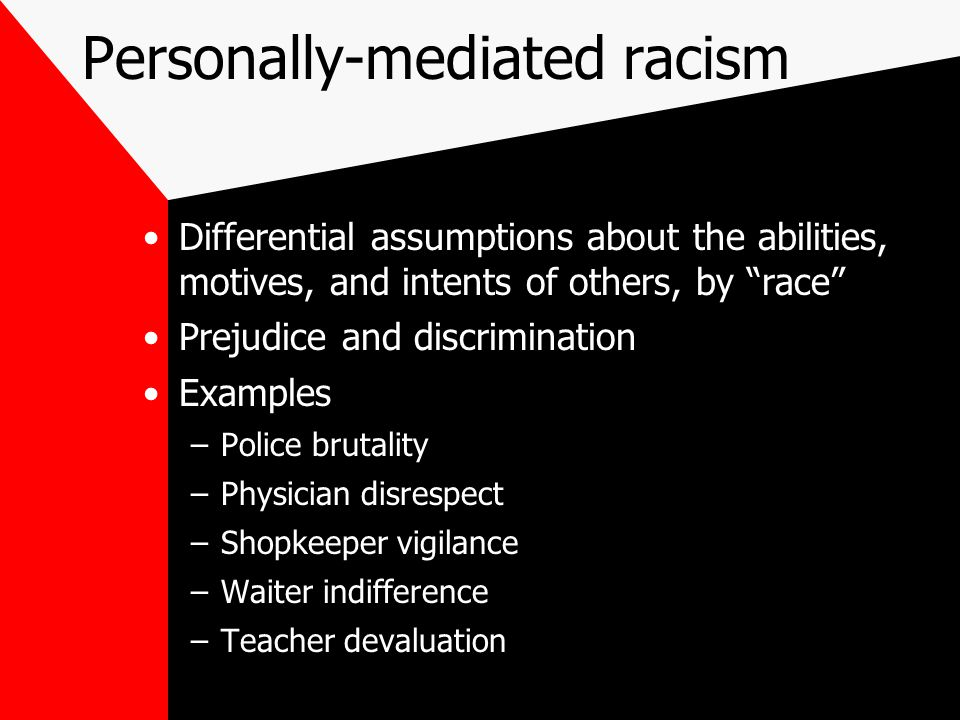 """Personally-mediated racism Differential assumptions about the abilities, motives, and intents of others, by """"race"""" Prejudice and discrimination Exampl"""