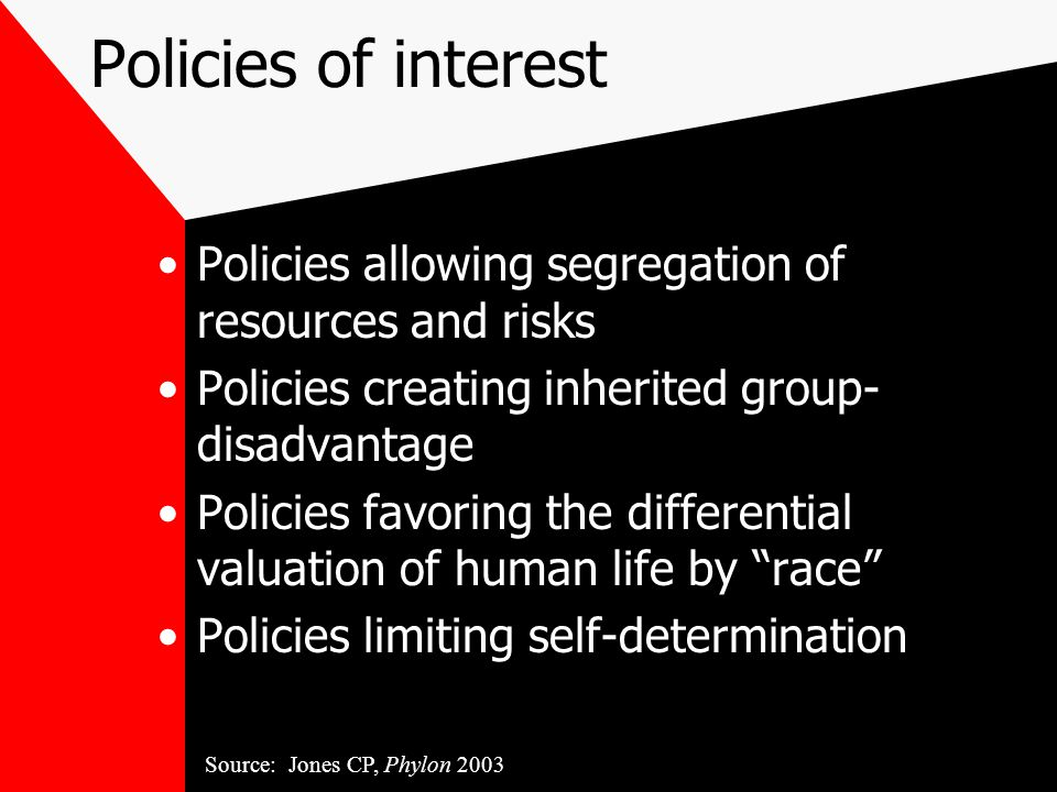 Policies of interest Policies allowing segregation of resources and risks Policies creating inherited group- disadvantage Policies favoring the differential valuation of human life by race Policies limiting self-determination Source: Jones CP, Phylon 2003