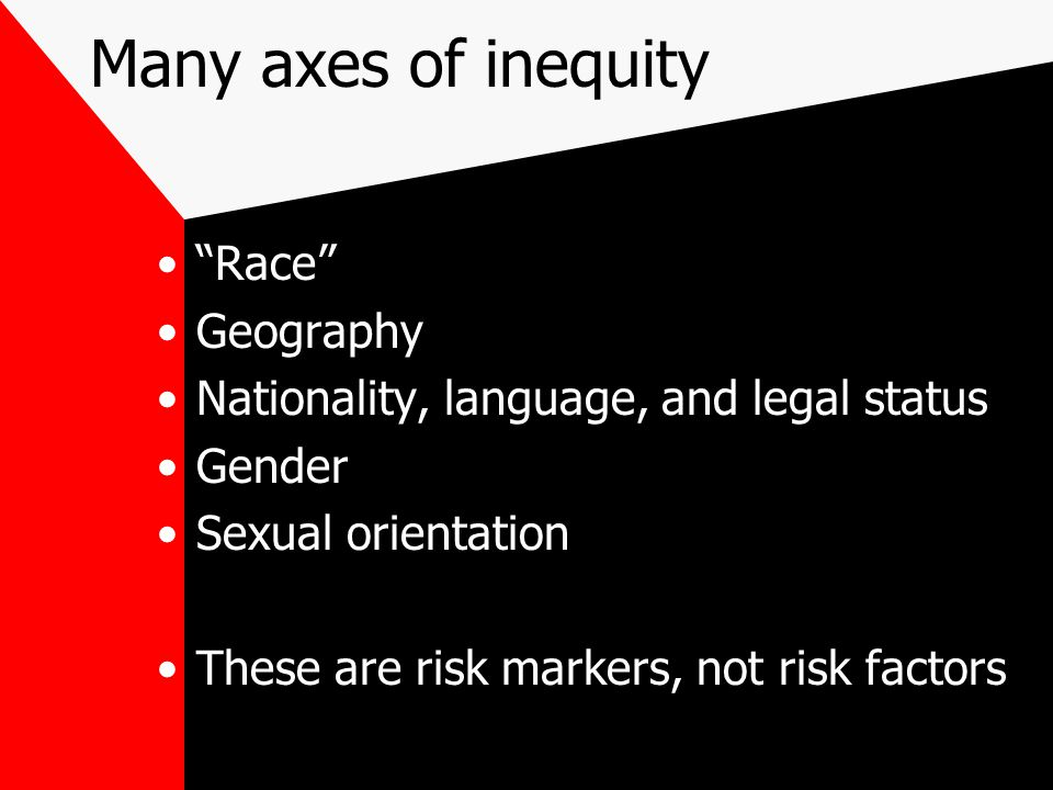 """Many axes of inequity """"Race"""" Geography Nationality, language, and legal status Gender Sexual orientation These are risk markers, not risk factors"""