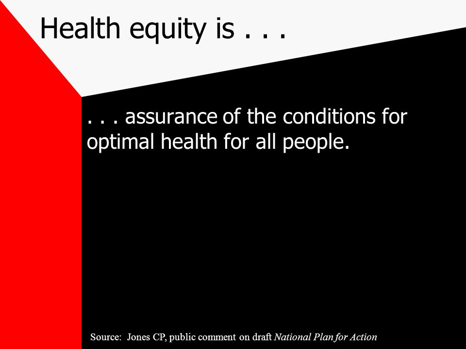 Health equity is......assurance of the conditions for optimal health for all people.