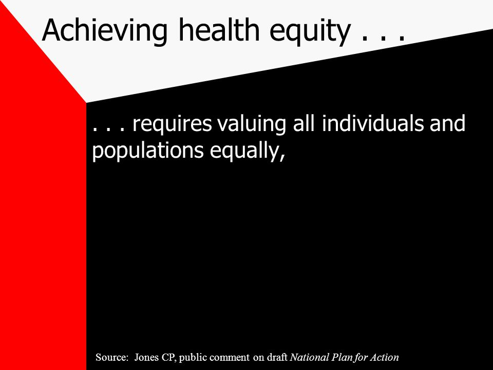 Achieving health equity......