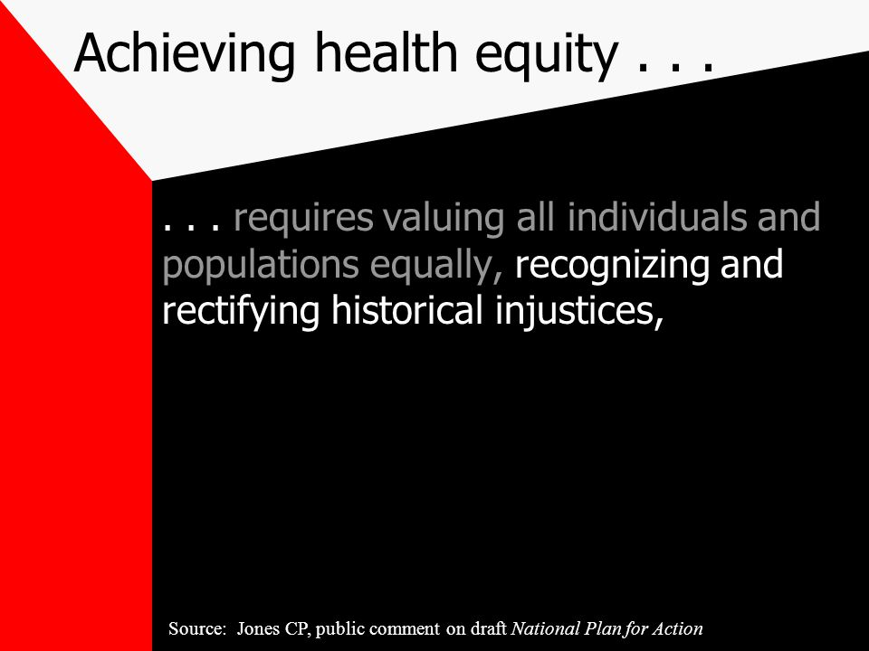 Achieving health equity...... requires valuing all individuals and populations equally, recognizing and rectifying historical injustices, Source: Jone