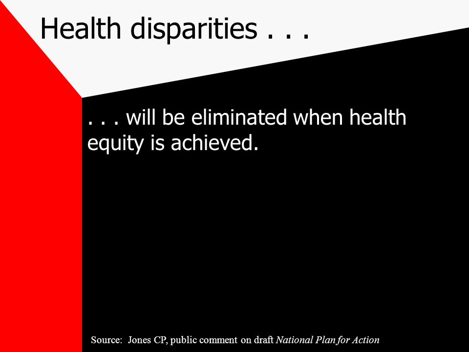 Health disparities......will be eliminated when health equity is achieved.