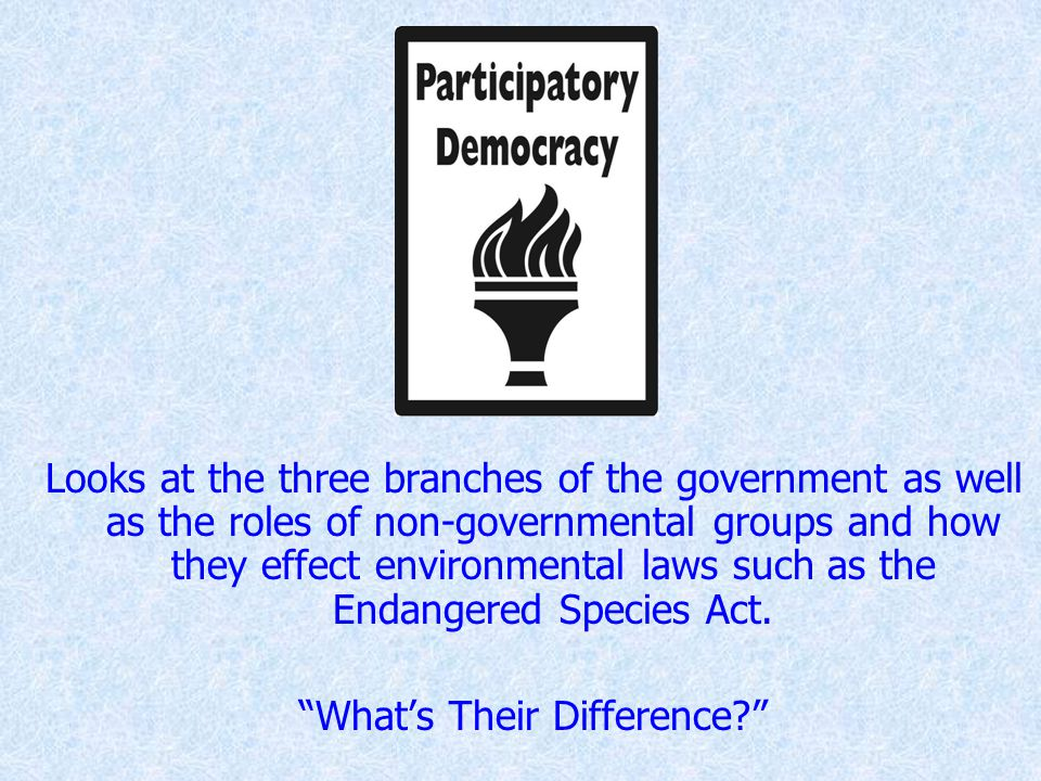 Looks at the three branches of the government as well as the roles of non-governmental groups and how they effect environmental laws such as the Endangered Species Act.