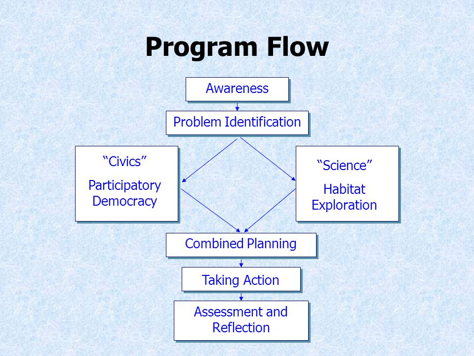 Program Flow Awareness Problem Identification Civics Participatory Democracy Science Habitat Exploration Combined Planning Taking Action Assessment and Reflection