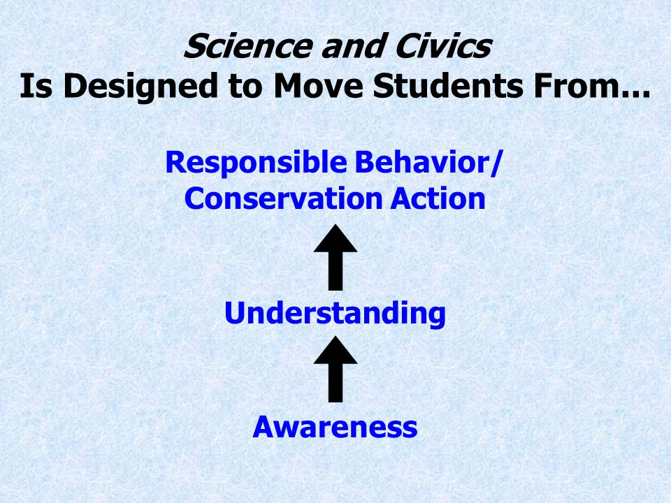 Responsible Behavior/ Conservation Action Understanding Awareness Science and Civics Is Designed to Move Students From...