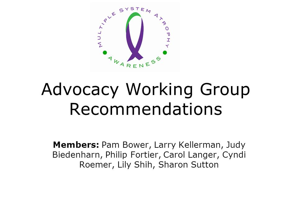 Advocacy Working Group Recommendations Members: Pam Bower, Larry Kellerman, Judy Biedenharn, Philip Fortier, Carol Langer, Cyndi Roemer, Lily Shih, Sharon Sutton