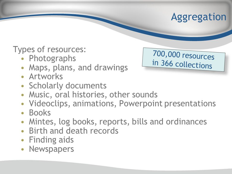 Aggregation Types of resources: Photographs Maps, plans, and drawings Artworks Scholarly documents Music, oral histories, other sounds Videoclips, ani