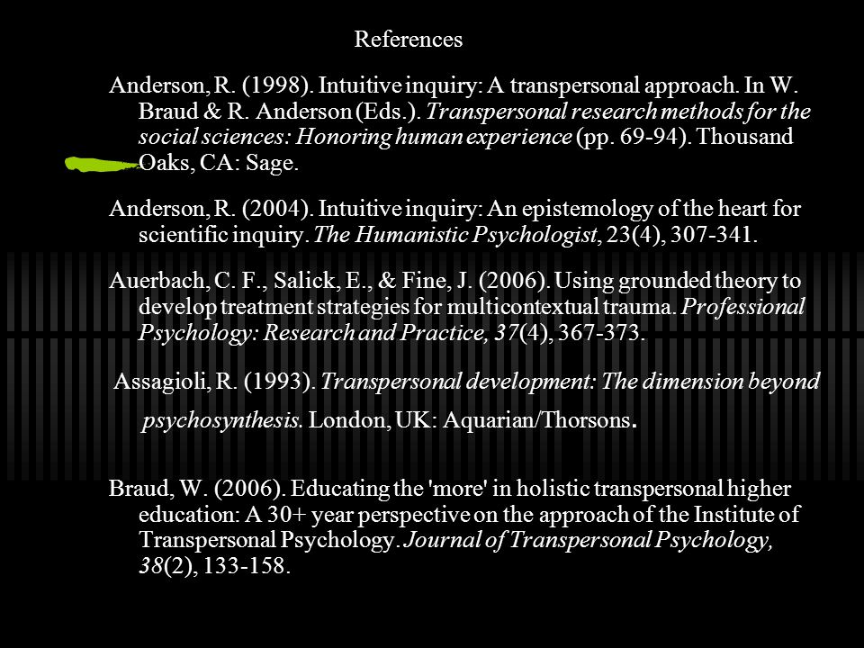 References Anderson, R.(1998). Intuitive inquiry: A transpersonal approach.