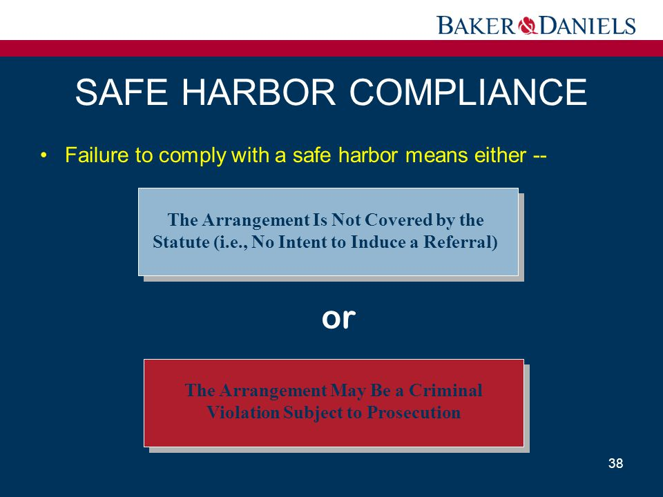 SAFE HARBOR COMPLIANCE Failure to comply with a safe harbor means either -- 38 The Arrangement May Be a Criminal Violation Subject to Prosecution The