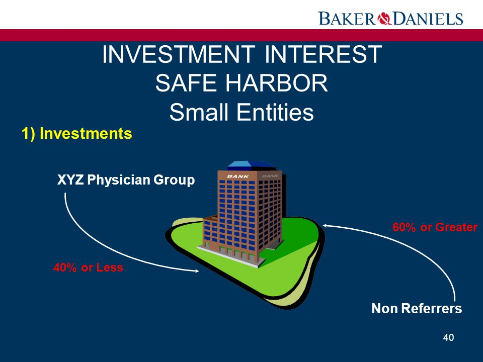 INVESTMENT INTEREST SAFE HARBOR Small Entities 40 XYZ Physician Group 40% or Less 1) Investments Non Referrers 60% or Greater