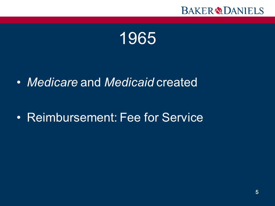 1965 Medicare and Medicaid created Reimbursement: Fee for Service 5