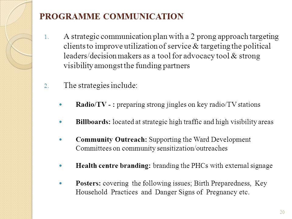 PROGRAMME COMMUNICATION PROGRAMME COMMUNICATION 1.
