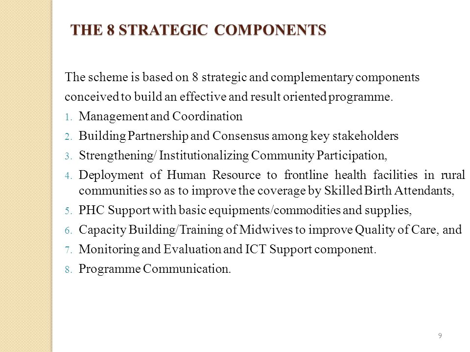 THE 8 STRATEGIC COMPONENTS The scheme is based on 8 strategic and complementary components conceived to build an effective and result oriented programme.
