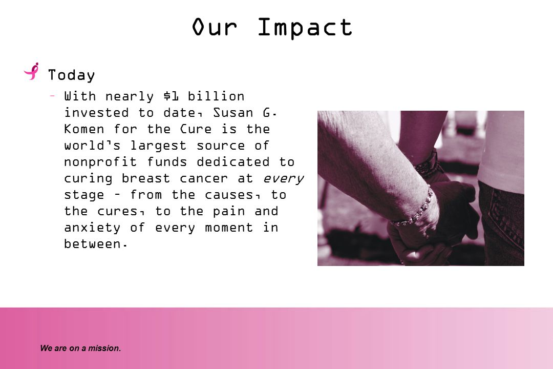 We are on a mission. Our Impact Today –With nearly $1 billion invested to date, Susan G.