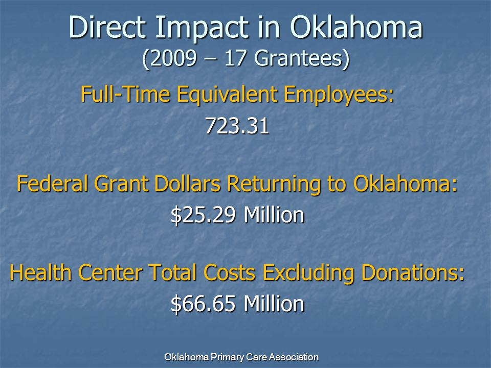 Full-Time Equivalent Employees: 723.31 Federal Grant Dollars Returning to Oklahoma: $25.29 Million Health Center Total Costs Excluding Donations: $66.
