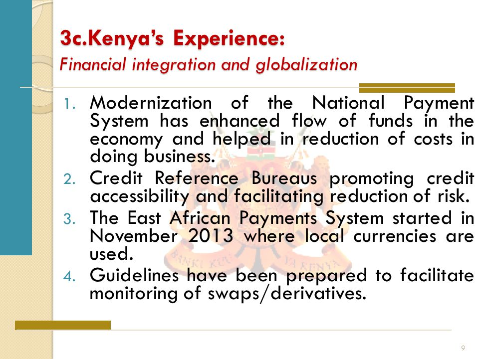 3c.Kenya's Experience: Financial integration and globalization 1.