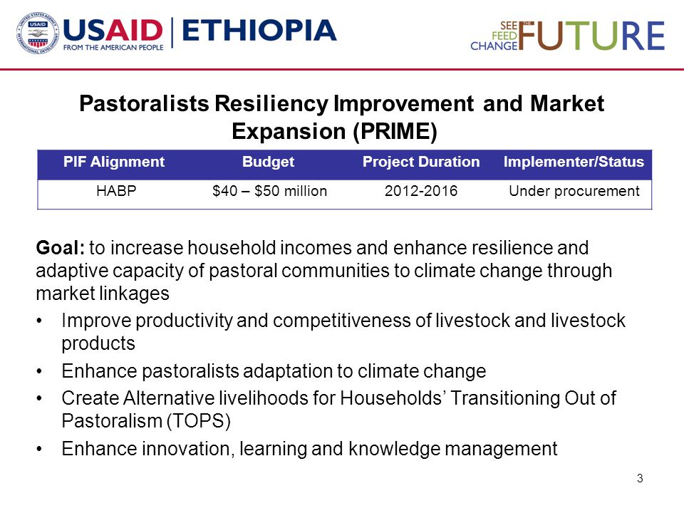 Pastoralists Resiliency Improvement and Market Expansion (PRIME) Goal: to increase household incomes and enhance resilience and adaptive capacity of pastoral communities to climate change through market linkages Improve productivity and competitiveness of livestock and livestock products Enhance pastoralists adaptation to climate change Create Alternative livelihoods for Households' Transitioning Out of Pastoralism (TOPS) Enhance innovation, learning and knowledge management 3 PIF AlignmentBudgetProject DurationImplementer/Status HABP $40 – $50 million2012-2016Under procurement