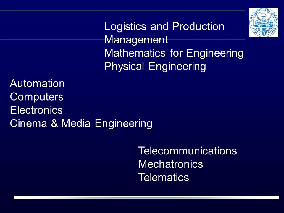 11 Logistics and Production Management Mathematics for Engineering Physical Engineering Automation Computers Electronics Cinema & Media Engineering Te