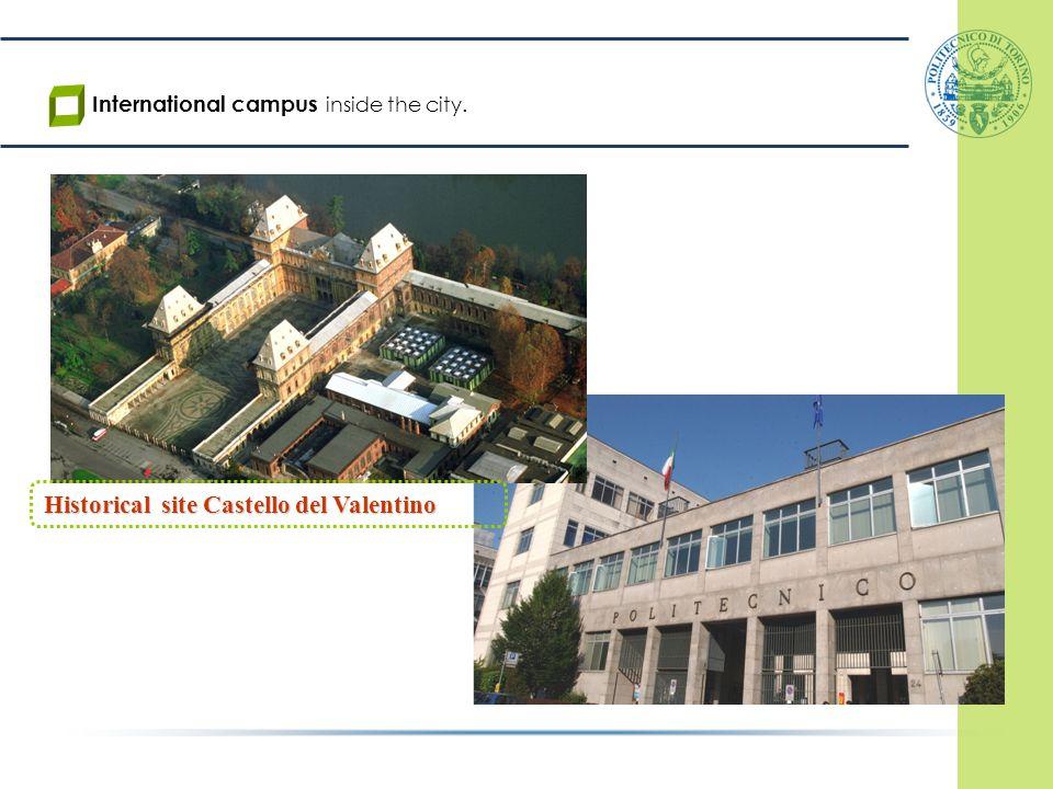 Historical site Castello del Valentino International campus inside the city.
