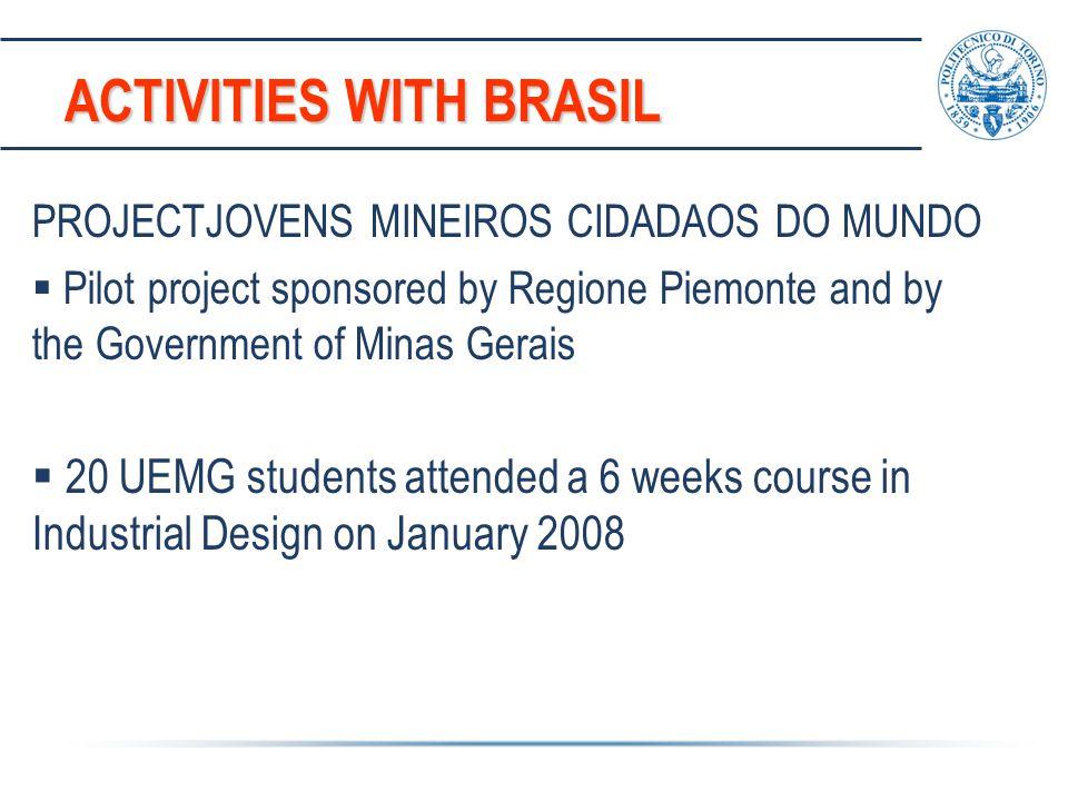 ACTIVITIES WITH BRASIL PROJECTJOVENS MINEIROS CIDADAOS DO MUNDO  Pilot project sponsored by Regione Piemonte and by the Government of Minas Gerais 