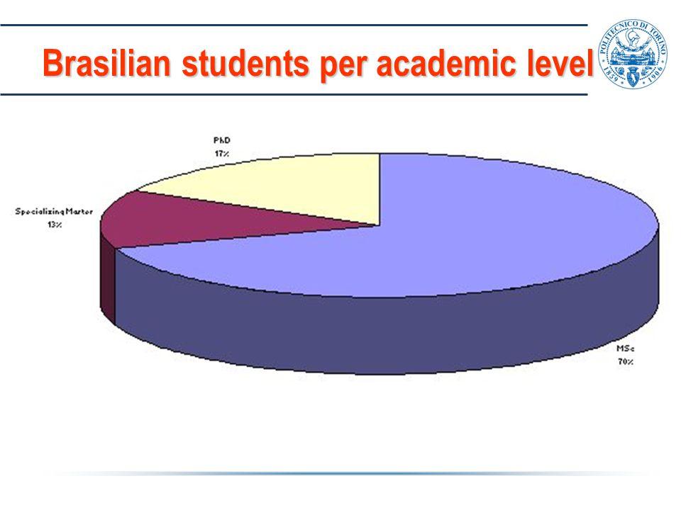Brasilian students per academic level