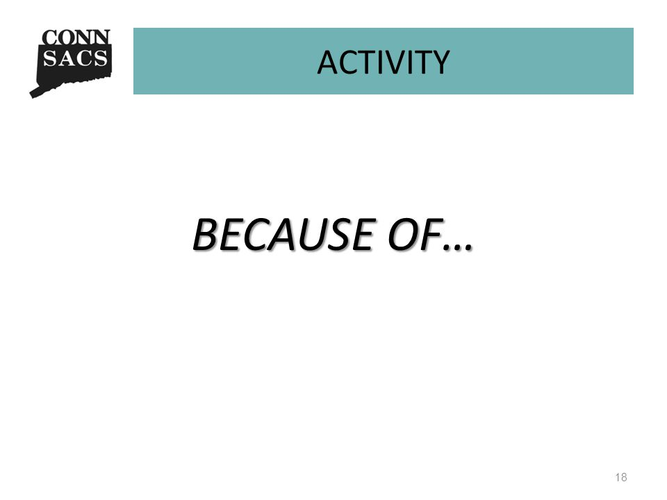 ACTIVITY BECAUSE OF… 18