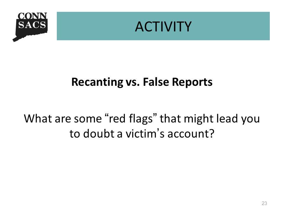 ACTIVITY Recanting vs.