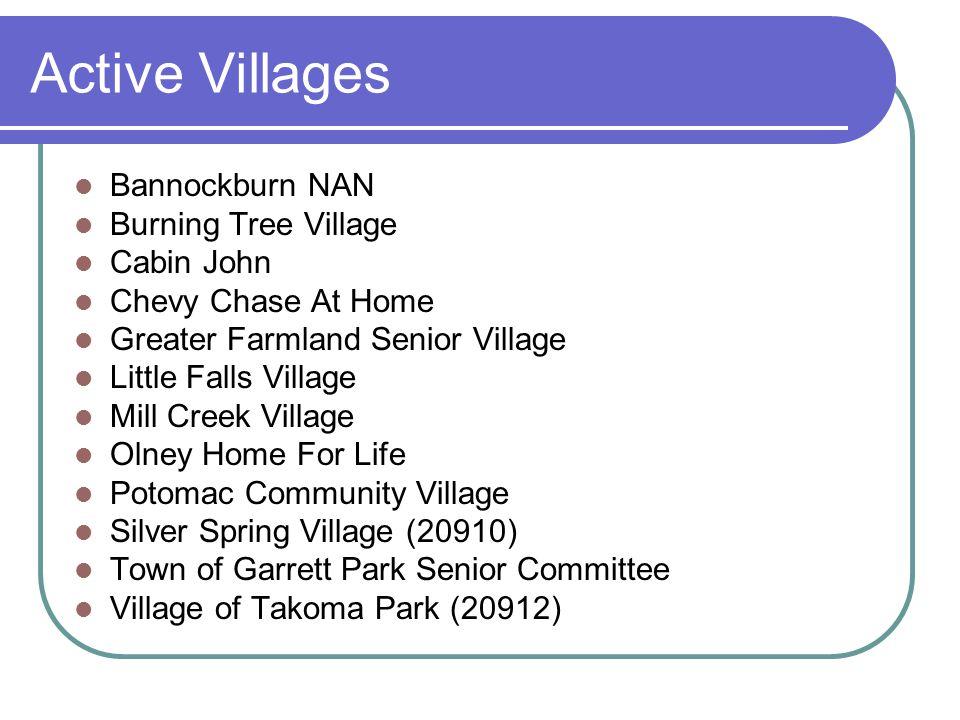 Active Villages Bannockburn NAN Burning Tree Village Cabin John Chevy Chase At Home Greater Farmland Senior Village Little Falls Village Mill Creek Vi