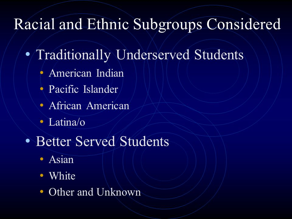Racial and Ethnic Subgroups Considered Traditionally Underserved Students American Indian Pacific Islander African American Latina/o Better Served Students Asian White Other and Unknown