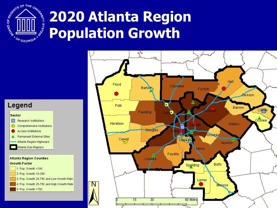 """Creating a More Educated Georgia"" 2020 Atlanta Region Population Growth Legend"