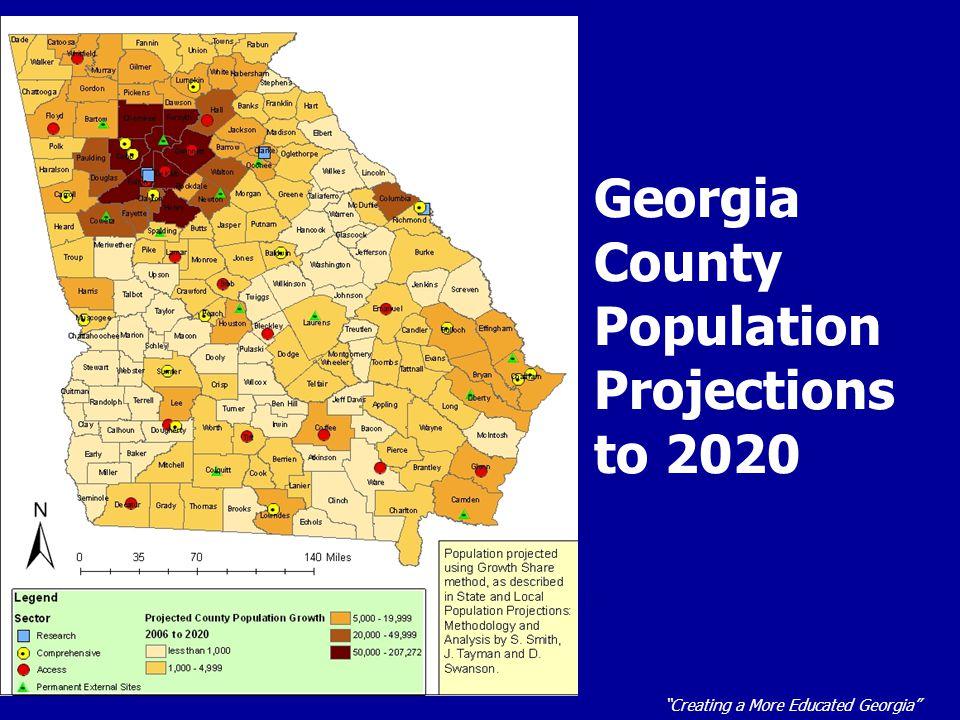 Creating a More Educated Georgia 2020 Georgia Growth by Region Northwest GANortheast GA SE Exurbs SW Exurbs Columbus Augusta Macon/ W-R East GA Southwest GA South GA Coastal GA Atlanta