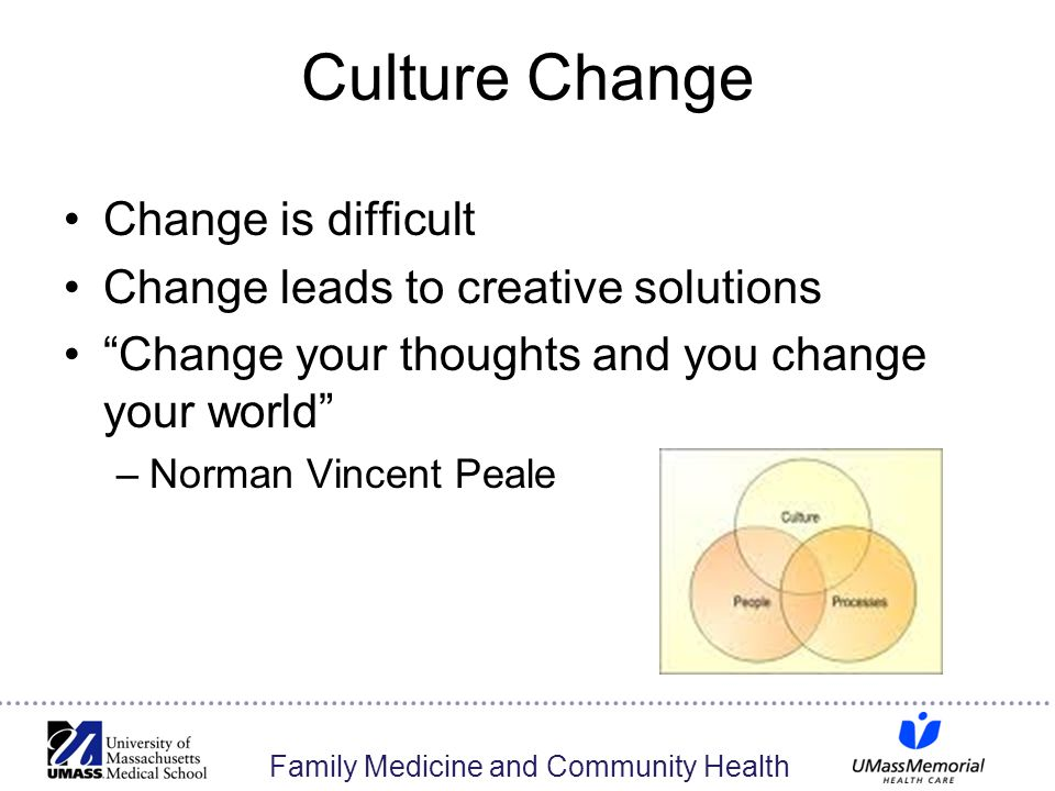 Family Medicine and Community Health Culture Change Change is difficult Change leads to creative solutions Change your thoughts and you change your world –Norman Vincent Peale