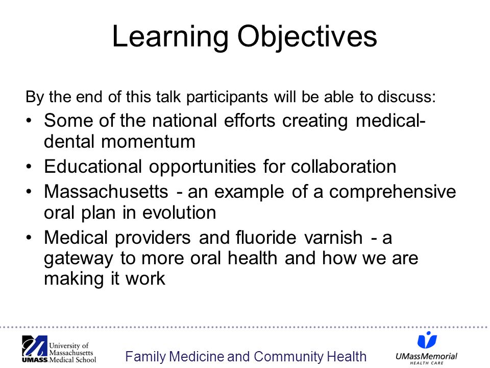 Family Medicine and Community Health Learning Objectives By the end of this talk participants will be able to discuss: Some of the national efforts cr
